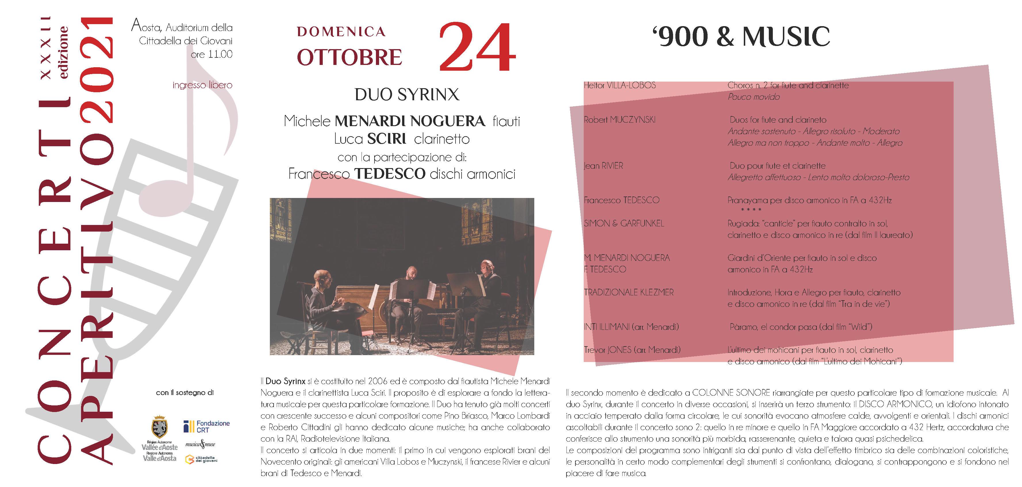 Locandina Concerti Aperitivo - Aosta inverno 2021 Prima data