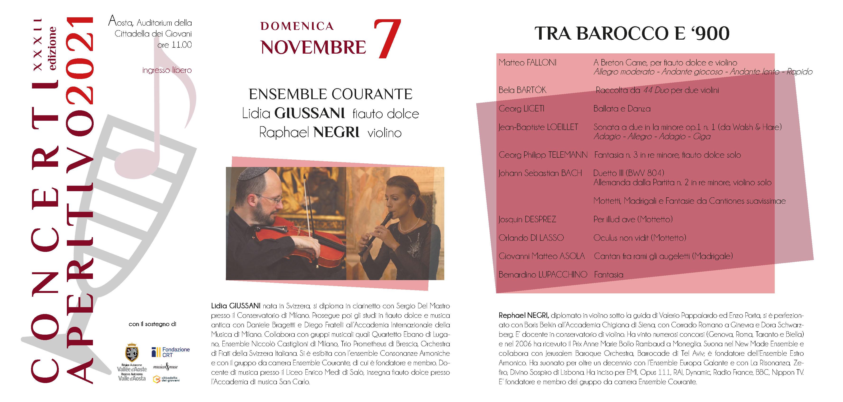 Locandina Concerti Aperitivo - Aosta inverno 2021 terza data
