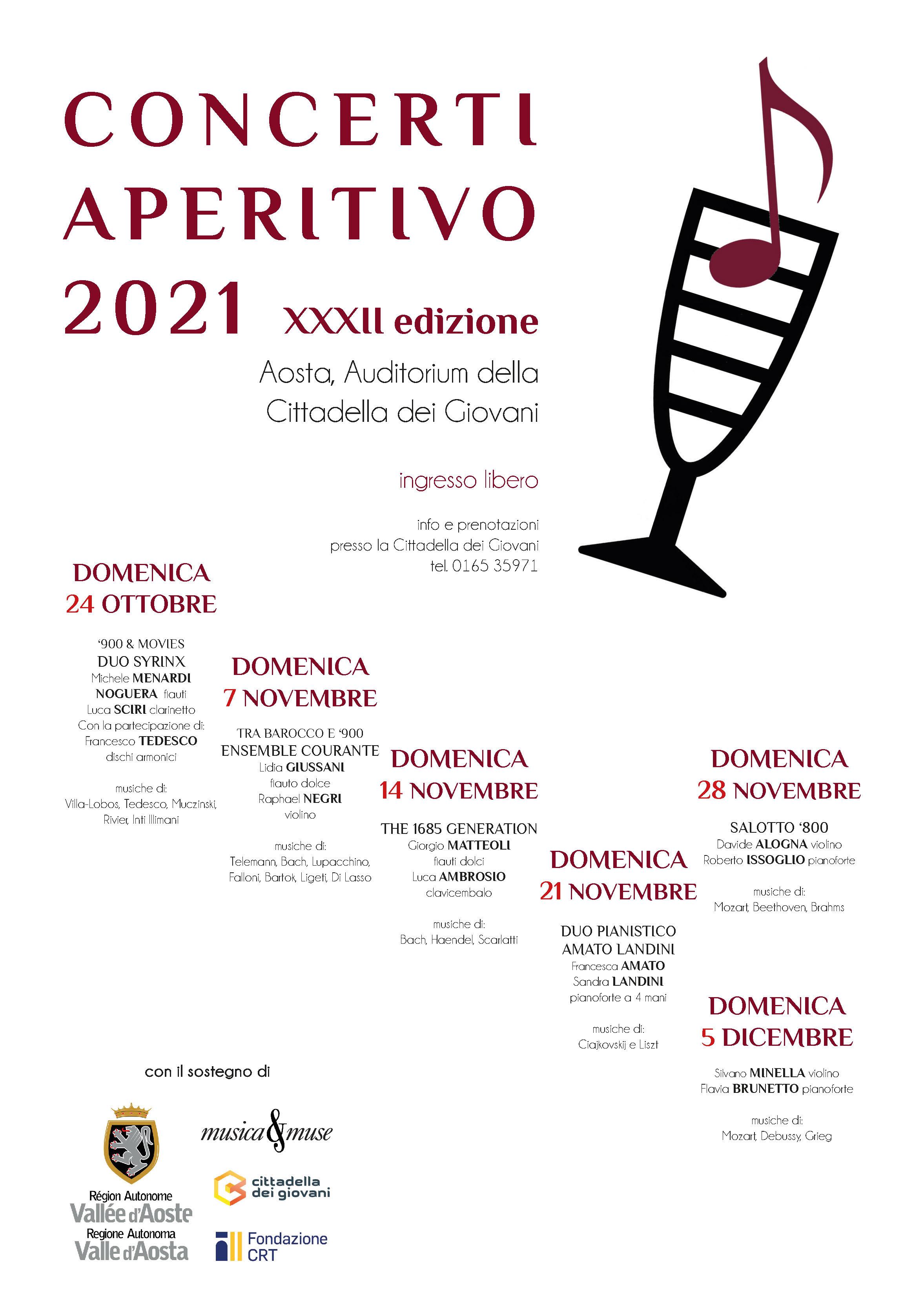 Locandina Concerti Aperitivo - Aosta Inverno 2021